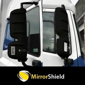 TP4U - DAF LF RENAULT VOLVO KUDA MIRRORSHIELD GUARDS/PROTECTOR PAIR (BLACK)